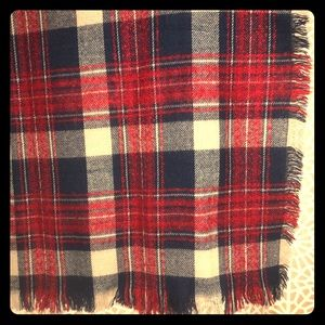 Zara blanket scarf Red Blue White plaid. Oversized
